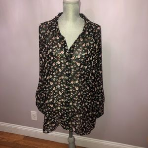 Torrid High-Low Floral Button Down Blouse Babydoll